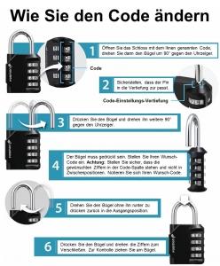 Anleitung Sicherheitscodes Vorhängeschloss